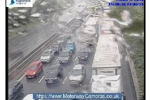 A Highways Agency camera captures the M1 queues this afternoon