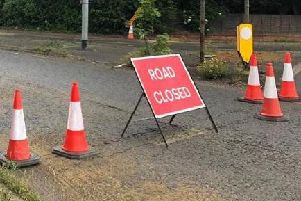 Sandy Lane near the A4500 roundabout has been coned off