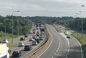 The scene on the A45 this morning