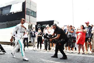 Lewis Hamilton ahead of practice at Silverstone on Friday
