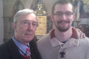 Benjamin Field (right) and Peter Farquhar at their 'betrothal ceremony' in March 2014. Photo: Thames Valley Police