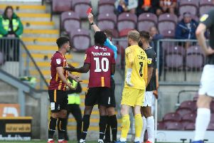 Referee Leigh Doughty, who's in his first season in the EFL, sent off Zeli Ismail in stoppage-time on Saturday. Picture: Pete Norton