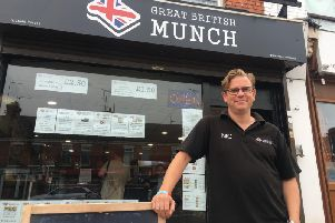 Nic Farrell outside his cafe, Great British Munch, on St Leonards Road, Northampton