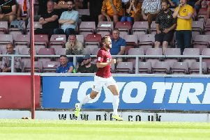 Andy Williams celebrates his goal on Saturday
