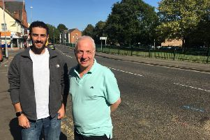 Nicholas Sadler (left) and Mark Necus on Kettering Road, Northampton, where they believe the Chilean's great-grandfather once lived