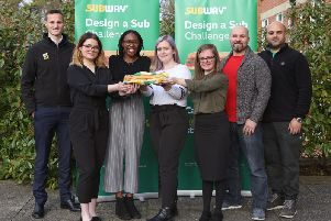 Northampton College students with The Selector Sub, which was one of five runners-up. Photo: Subway