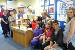 Staff joined Gillian at her welcome desk to celebrate her special day.