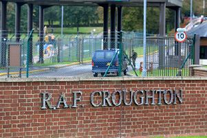 The entrance to RAF Croughton near to where motorcyclist Harry Dunn was killed as he travelled along the B4031 on August 27 (Photo by Lindsey Parnaby / AFP).