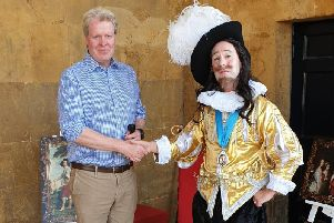Charles Spencer with Daniel Williams aka King Charles I at Althorp House