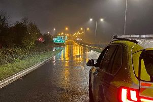 Flooding on the A45 this morning. Photo: Northamptonshire Police