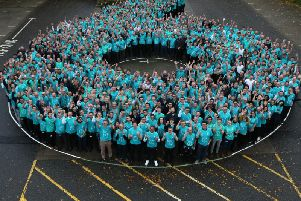 Mercedes staff at the Brixworth factory form a six to celebrate the sixth consecutive double F1 title. Photo: Mercedes-AMG Petronas Motorsport