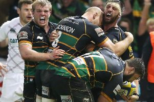 Tom Wood scored a crucial try in Saints' Premiership play-off semi-final win against Tigers in 2014