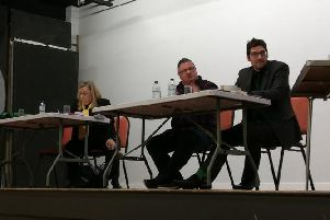 Jill Hope, Gareth Eales and Scott Mabbutt field questions from residents
