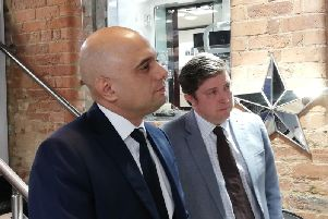 Sajid Javid visited Northampton this morning to support Conservative candidate Andrew Lewer