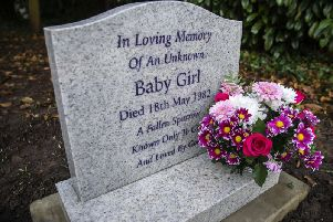 The new headstone reads 'In loving memory of an unknown baby girl. Died 18th May 1982. A fallen sparrow, known only to God and loved by God'. Pictures by Kirsty Edmonds.