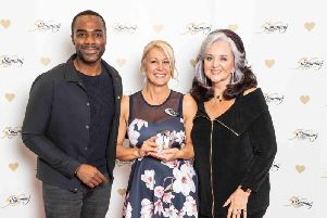 Left-right: TV presenter Ore Oduba, Slimming World consultant Sylvia Paget and the founder of Slimming World Margaret Miles-Bramwell.