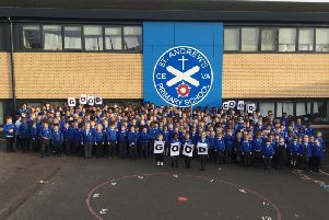 St Andrews Primary School pupils and staff celebrate being rated 'good' by Ofsted