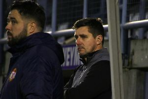 Kettering Town boss Marcus Law's expression tells the tale during his side's defeat at Dorchester