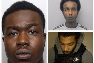 Khalid Daahir, top right, Keon Crossman, left, and Nathan Collins, bottom right