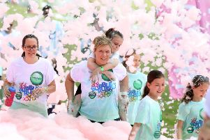 Bubble Rush: Kettering: Wicksteed Park, 5km run through bubbles in Wicksteed Park for Cransley Hospice''Sunday, May 20th 2018 NNL-180520-200154009