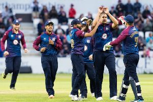 Rory Kleinveldt, pictured here celebrating claiming a wicket with his team-mates, has left Northants