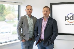 Print Data Solutions' founder Nick Shelton, right, with Scott Rendall, commercial director.