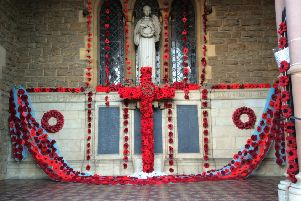 The Poppy display at Wellingborough United Reformed Church