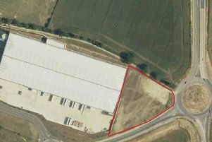 The site just off the A6 at Rushden (highlighted in red)