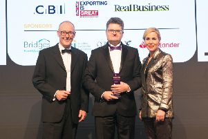 From left, Antony Ross of Bridges Fund Management, Guy Schanschieff, managing director of Bambino Mio and awards host Sally Philips.