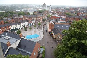 Birdseye View: Kettering: Views of Kettering from the spire of Ss Peter and Paul, Market Place'Kettering Market Place and High St'Monday June 5th 2017 NNL-170506-204910009