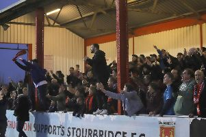 The Kettering Town fans were out in force and left delighted after the Poppies claimed a crucial 2-1 success at Stourbridge last weekend. Picture by Peter Short