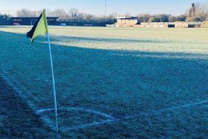 AFC Rushden & Diamonds' match at Rushall Olympic has been called off due to a frozen pitch at Dales Lane. Picture courtesy of Rushall Olympic Football Club (@ROFCOfficial)