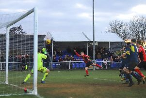 Lindon Meikle fires home the dramatic late winner as Kettering Town beat Needham Market 3-2 at Latimer Park. Pictures by Peter Short