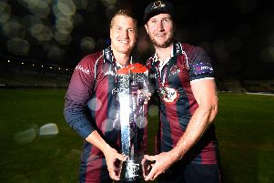 Josh Cobb (left) has signed a new deal at Northants