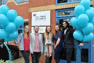 Ria El-Alami, Matthew Socci, Samantha Barrett, Chloe Kingston and Jugraj Singh celebrate National Accident Helpline being named in the Sunday Times' Top 100 Best Small Companies To Work For