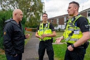 Ross Kemp with PC Rob Monk and PC Gary Liddle in Appleby Walk