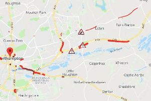 The A45 near Earls Barton was still severely congested at about 9.20am