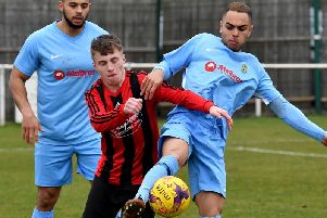 Action from the United Counties League Premier Division clash between Whitworth and Rugby Town. Picture by Martin Pulley