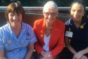 From left to right: Healthcare assistant June Nicholl, clinical nurse manager Rebecca Warren and nurse Seeta Maher are all part of Marie Curies team in Northamptonshire.