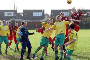 Goalmouth action from the 0-0 draw between Irchester United and Holwell Sports in Division One. Pictures by Alison Bagley