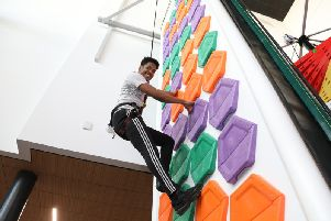 One of the 26 climbing walls with points scored depending on the difficulty of the climb