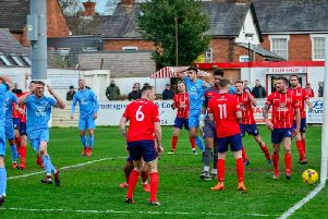 Connor Kennedy cant believe it as a late chance goes begging during Corby Towns 2-1 defeat at Bromsgrove Sporting last weekend. Pictures by Jim Darrah