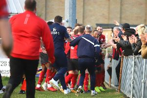 Aaron O'Connor's stoppage-time winner sparked wild scenes of celebration at Leiston as Kettering Town closed in on the title. Picture by Peter Short