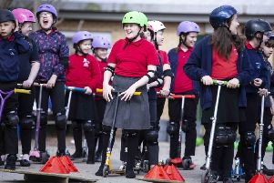 Grange Primary Academy pupils take part in the scooting session.