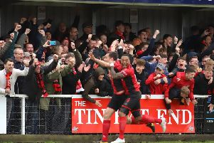 Craig Stanley celebrates with Aaron OConnor but the defenders first goal for Kettering Town proved to be in vain as their title celebrations were put on hold after a 2-1 defeat to Alvechurch last weekend. Picture by Peter Short