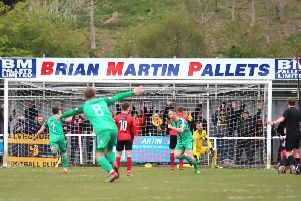This late Alvechurch goal stopped Kettering Town from claiming the title last weekend. The Poppies will be hoping there are no mistakes when they bid to get over the line at Halesowen Town tomorrow. Picture by Peter Short