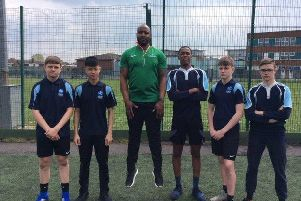 Olympic gold medallist Mark Lewis-Francis was on hand to visit students at Lodge Park Academy