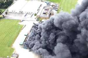 Drone footage released by Northamptonshire Fire and Rescue shows the extent of the blaze at the Sywell white goods factory.