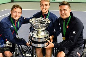 Kettering's Dermot Bailey (centre) clinched the World Team Cup along with Great Britain colleagues Alfie Hewett (left) and Gordon Reid