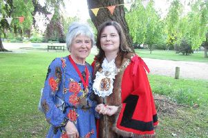 New Wellingborough Mayor Cllr Jo Beirne with her mum Pam who was mayor in the 2001.